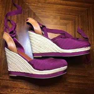 Wedge ankle wrap shoes
